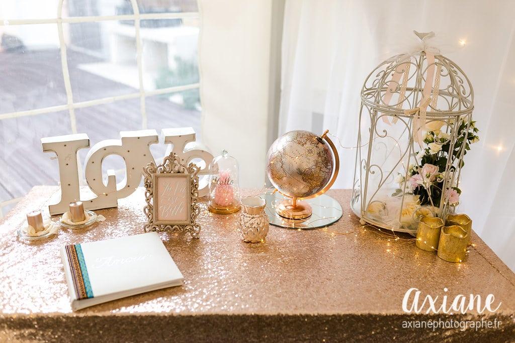 decoration rose poudre et paillette Natagency organsa wedding planner